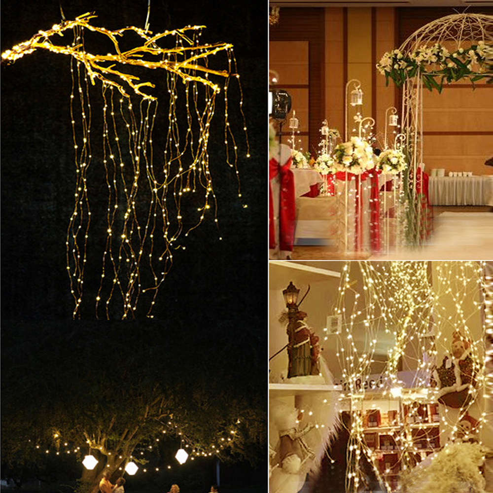 The Longest 100/200/300/600 LED Vines String Lights Copper Wire Branch Lights Wedding Decoration Light Plant Garden Room Décor