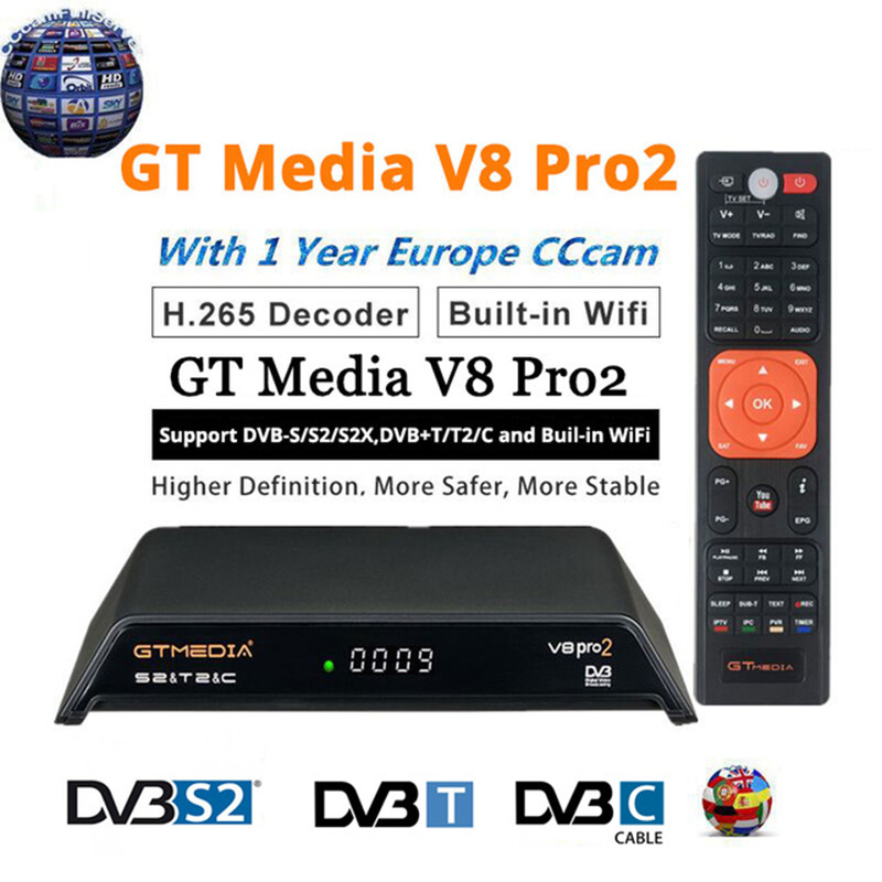 GTMedia V8 Pro2 DVB S2+T2+Cable Add 1 Year 4 Cccam Satellite TV Receiver Support PowerVu Biss Key Cccam 1080p With USB Wifi