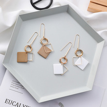 New Simple Design Multilayer Metal Round Circle Drop Hook Earring Geometric Square Resin Long Dangle for Women Girl Gift