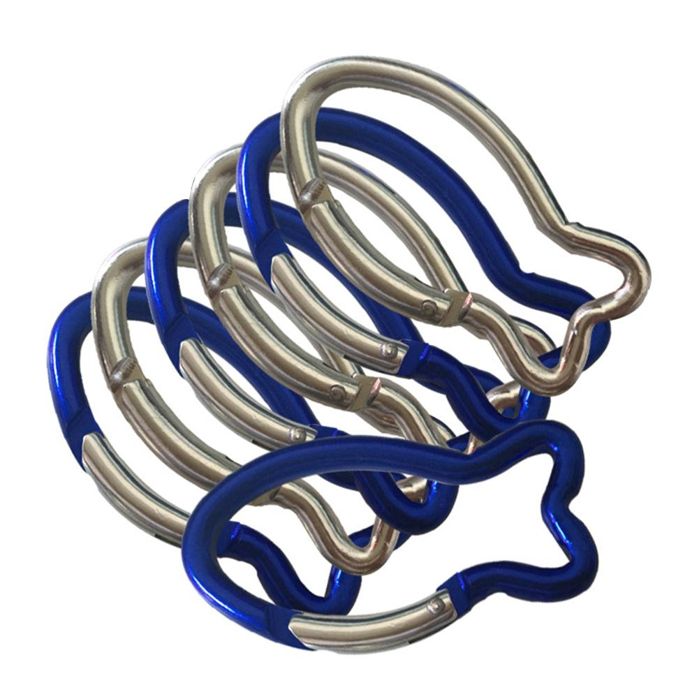 No.6 Fish-Shaped Aluminum Alloy Carabiner Outdoor Safety Fast Hanging Climbing Buckle Carabiner Camping Snap Clip Hooks Keychain