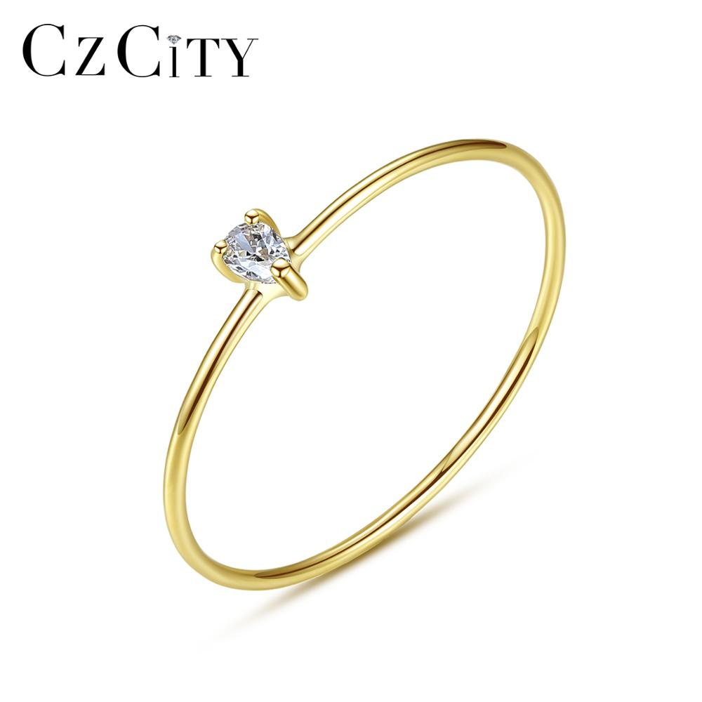 CZCITY Luxury Pure Gold Jewelry 14K Gold Rings For Women Engagement Wedding 585 Gold 3 Prongs CZ Anillos De Ouro Pur Gift R14144