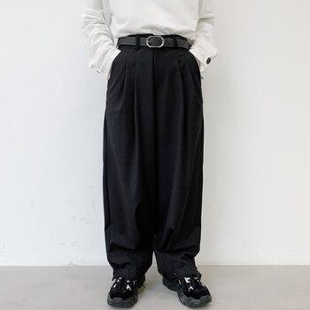 Male Japan Street Vintage Fashion Hip Hop Adjustable Hem Cone Trouser Harem Pant Men Wide Leg Casual Suit Pant фото