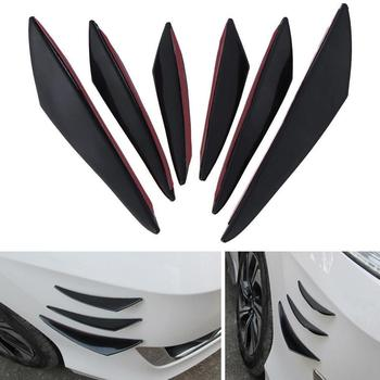 6pcs Universal Black Carbon Fiber Car Styling Accessories Fin Bumper Spoiler Lip Front Splitter Rubber Waterproof PP Sticke P5O2 image