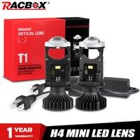Faros LED T1 H4 para coche, Mini lente de proyector H4, haz Alto y Bajo, 2020 K, DC9-32V, novedad de 6000