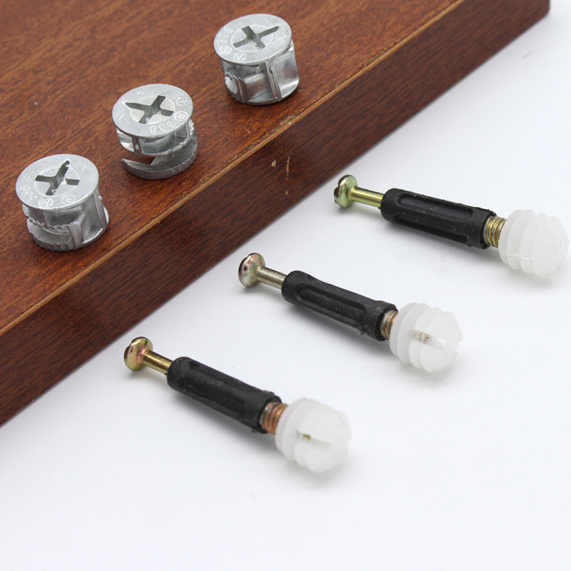 30 Set 3 In 1 Hidden Wardrobe Connection Screw Wood Panel Splicing Bolt For Furniture Wood Connection Eccentric Wheel Hardware