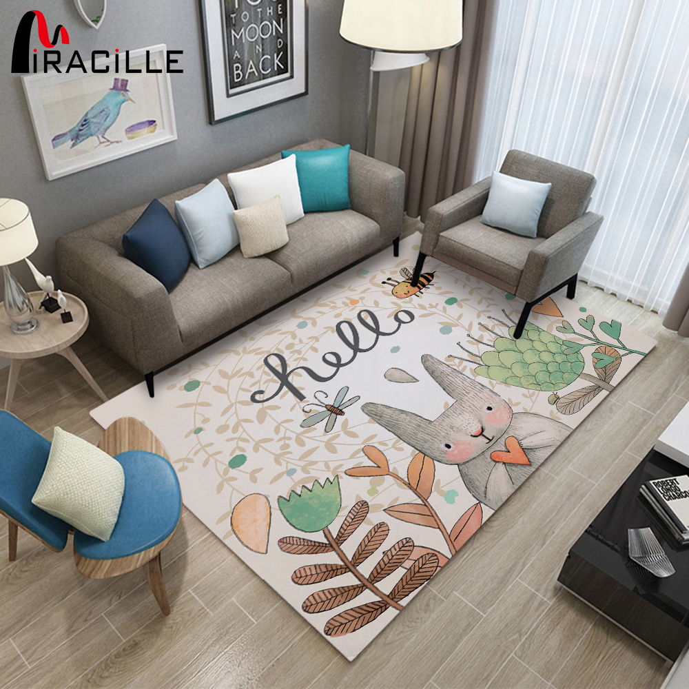 Miracille 3D Printed Bunny Design Livingroom Carpet Rabbit Kids Large Carpets Playmate Rug Home Decor