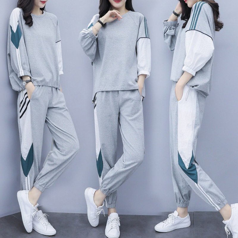 New Autumn Tracksuit For Women Ladies Casual Sweatshirt + Long Pants 2 Piece Grey Suit High Quality And Casual Sports Suit