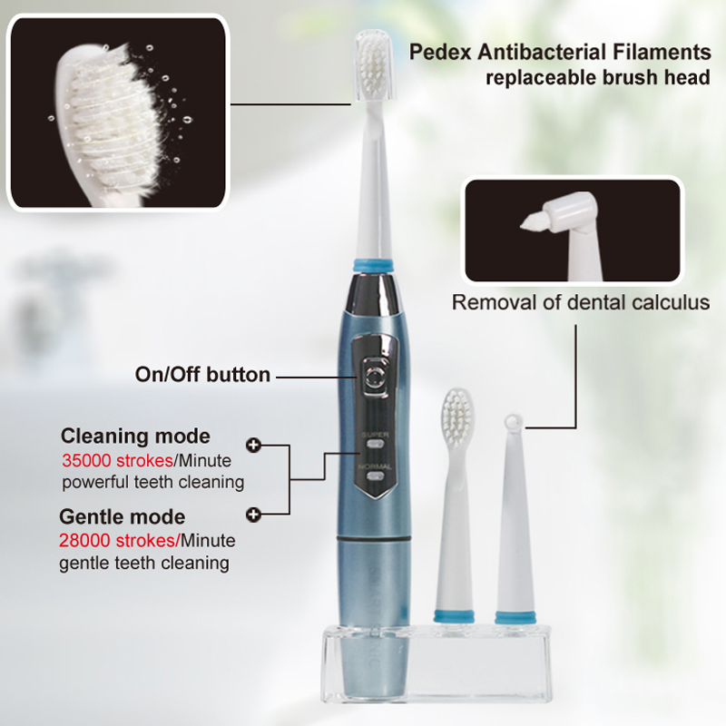 Seago Adult Electric Toothbrush Waterproof Whitening Teeth Oral Hygiene Tooth Brushes with 3 Replacement Brush Heads SG910