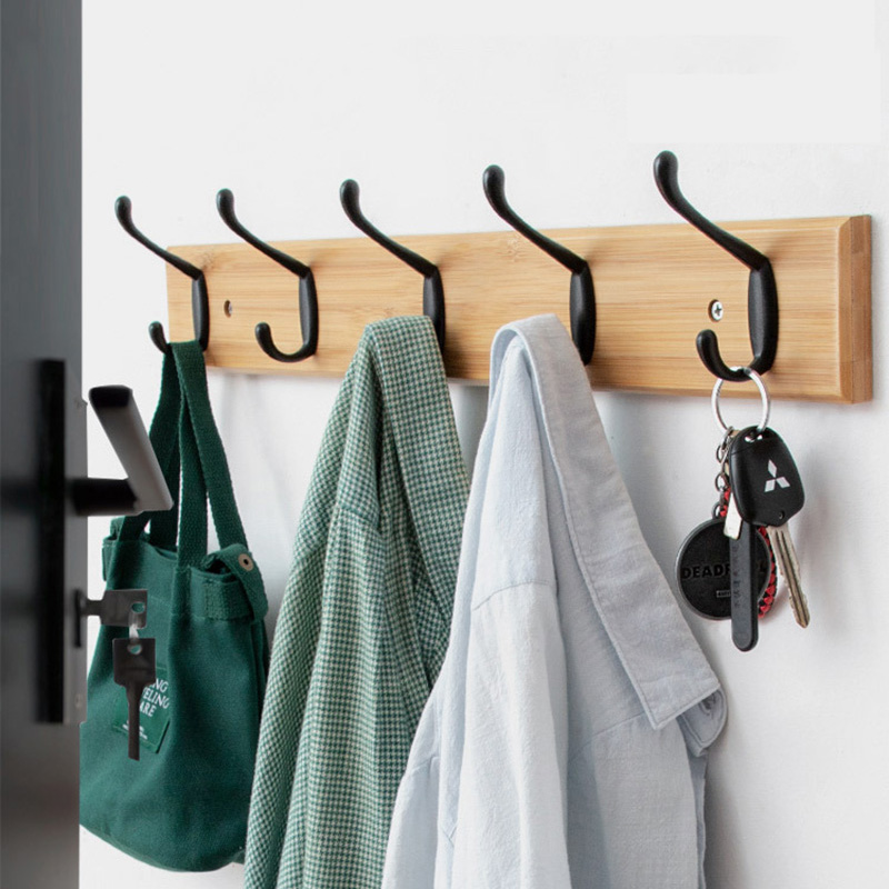 Nordic Fashion Home Decor Coat Hook Double Hooks Hallway Bedroom Door Hat Clothes Rack Hanger Kitchen Toilet Wall Brack Hook