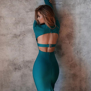 Adyce 2020 New Winter Long Sleeve Green Runway Bandage Dress Women Sexy Hollow Out Backless Club Celebrity Evening Party Dresses