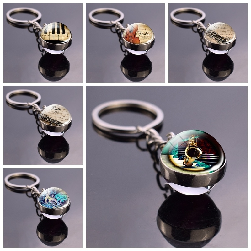 Saxophone Piano Glass Ball Key Chains Clarinet Flute Violin Music Metal Keyring Musical Instruments Jewelry Christmas Gift