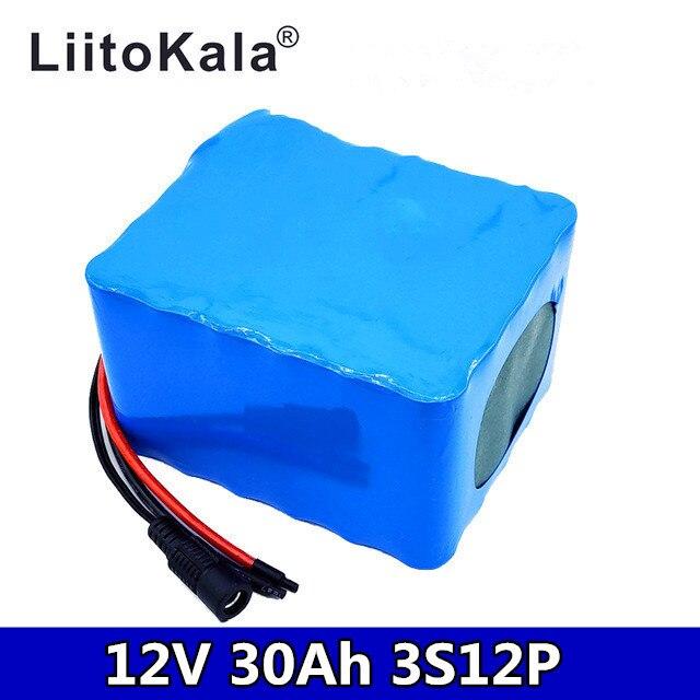 LiitoKala 12V 30Ah 3S12P 11,1 V 12,6 V высокомощный литиевый аккумулятор для инверторной ксеноновой лампы, солнечный уличный светильник для осмотра экскурсий