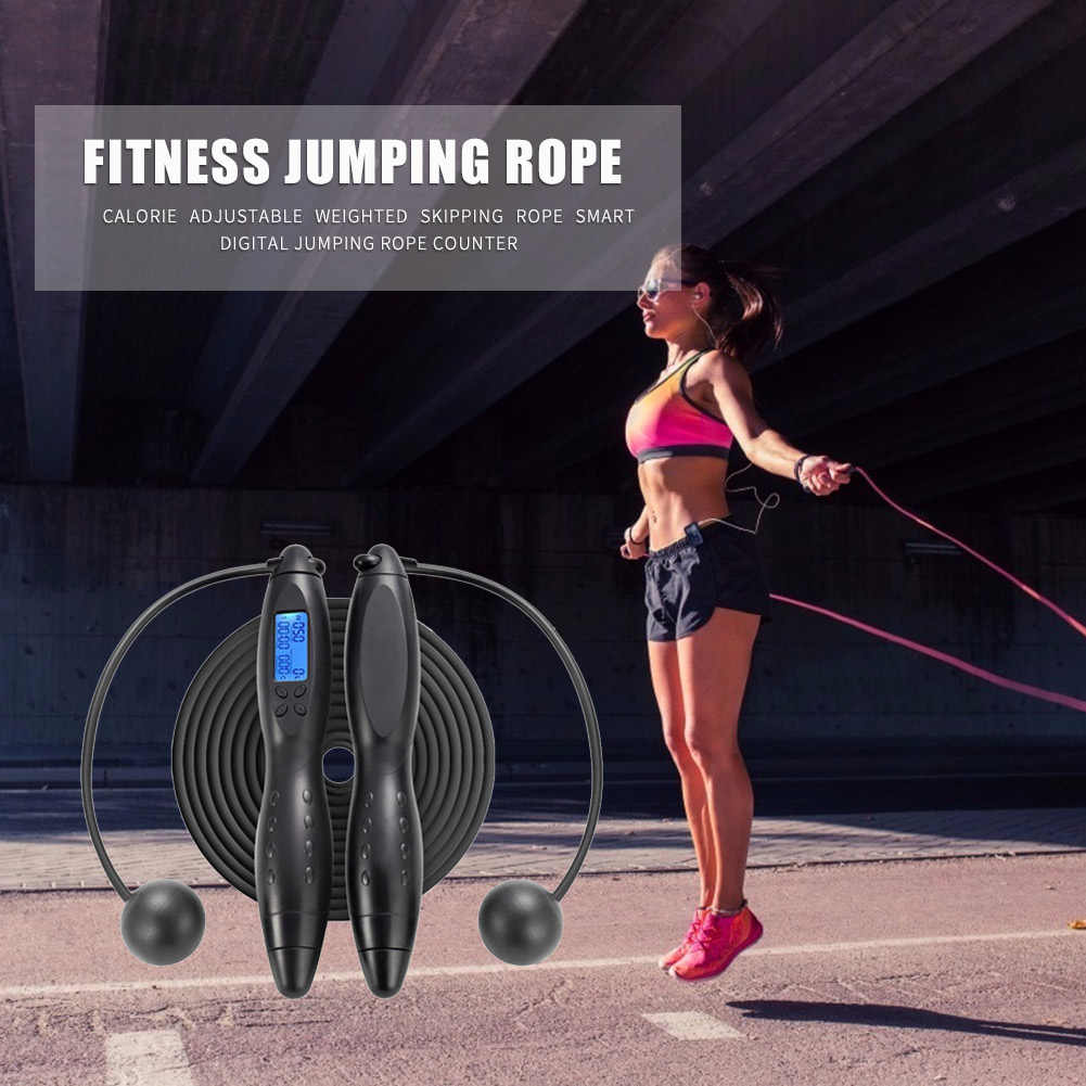 Gym Digital Counting Jump Rope w// Calories Counter Timer Cordless Skipping Rope