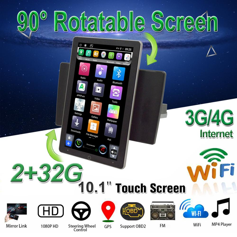 1Din Car Multimedia Player 10.1 Android 8.1 with 90 Degree Rotatable Screen BT GPS WiFi 3G/4G Car Radio Player image