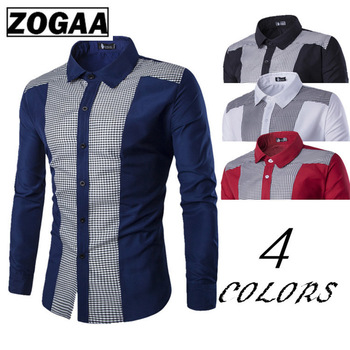 Zogaa 2020 New Classical Shirts Male Shirts Men Spring Autumn Long Sleeve Turn-down Collar Formal Business Men Social Shirts girls plaid blouse 2019 spring autumn turn down collar teenager shirts cotton shirts casual clothes child kids long sleeve 4 13t