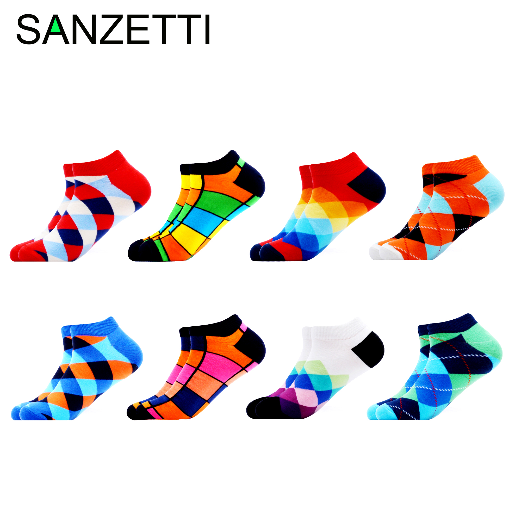 SANZETTI 8 Pairs/Lot Casual Novelty Men's Colorful Summer Combed Cotton Happy Ankle Socks Hip Hop Plaid Striped Dress Boat Socks