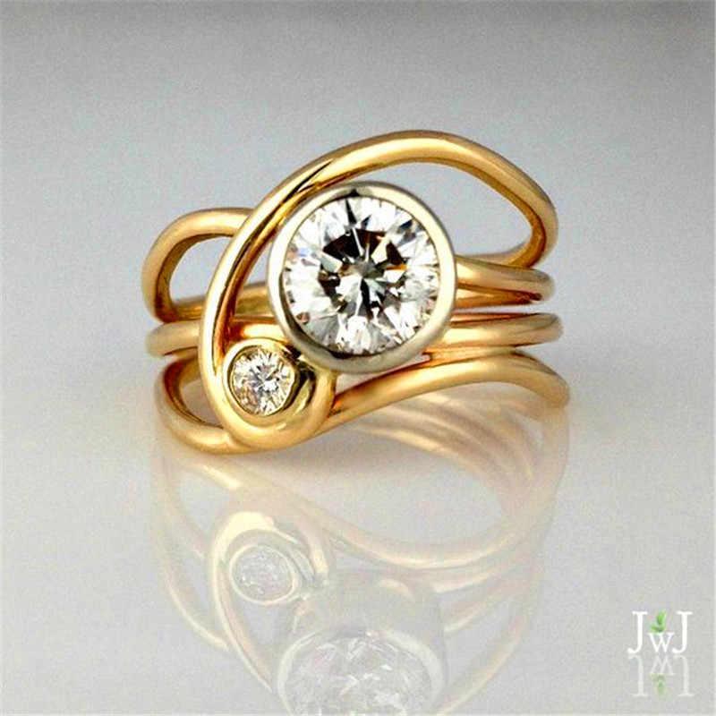 น่ารักหญิงคริสตัล Zircon แหวนสี YELLOW GOLD Finger แหวนสัญญารักหมั้นแหวน