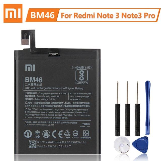 Batterie de remplacement dorigine XiaoMi BM46 pour Xiaomi Redmi Note 3 Pro Redrice Note3 100% nouvelle batterie de téléphone authentique 4050mAh