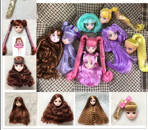 10pcs Cute Sleeping Baby Doll Head for Licca Doll Keychain Bags Hanging #2