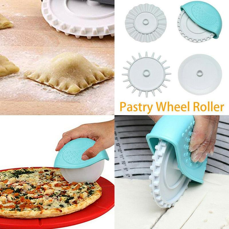 Pastry Cutter Roller Plastic 4 Pcs Cutting Edge Roller Wheel DIY Baking Biscuit Rippled Fondant Cake Tool Mold