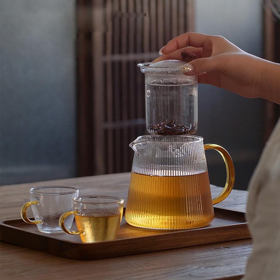 Square Bottom Théière en Verre Thé Tasse Thé Bouilloire Set épais coupe Puer Café teaset