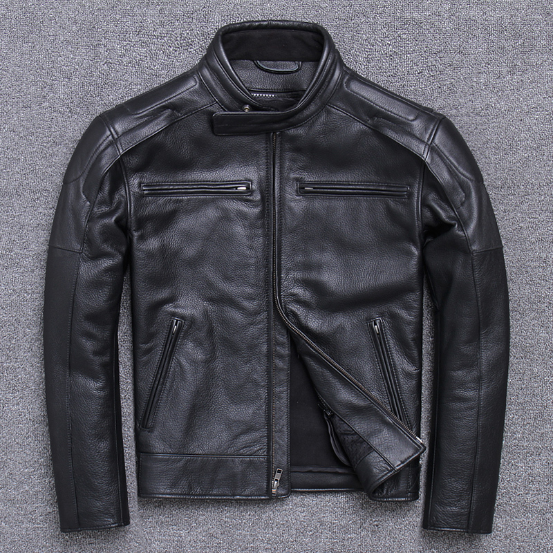 Men's Cowhide Jacket Autumn Winter Genuine Coat Motorcycle Real Cow Leather Jackets Short Veste Cuir Homme 15618