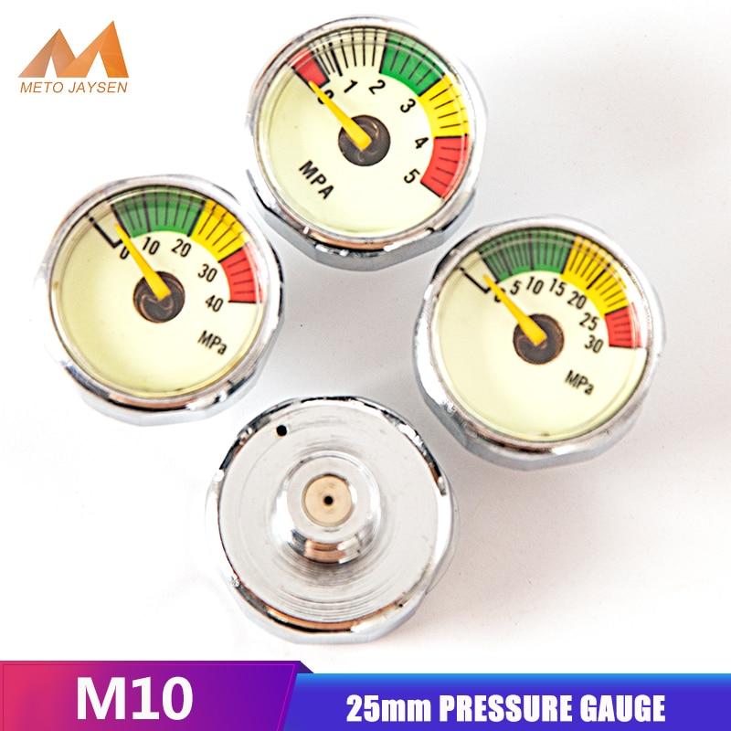High Pressure Gauge 25mm M10x1 1 Inch Air Mini Manometre PCP Paintball Pump Scuba Diving Valve Gauge 5mpa 30mpa 40mpa