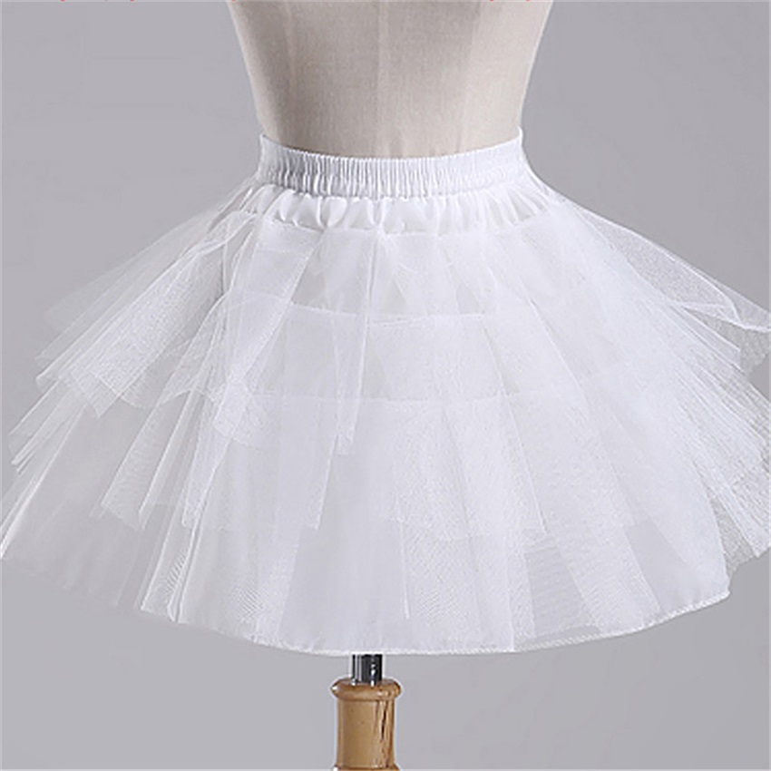 Top Quality Stock White Ballet Petticoat Tulle Ruffle Short Crinoline Bridal Petticoats Lady Girls Child Underskirt Jupon