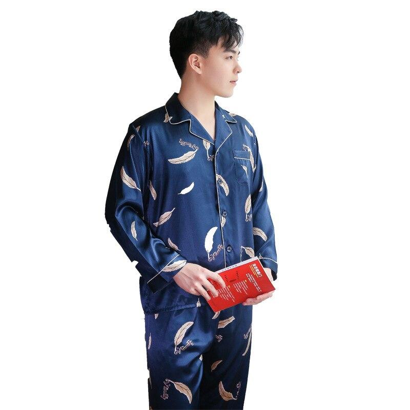 Весна и напечатанный шелк осень новый мужская домашняя одежда набор кардиган повседневная нагрудные с длинным рукавом пижамы брюки