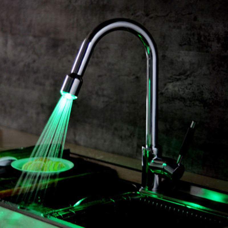 Kitchen faucet sink pull faucet rotary faucet LED kitchen cold and hot water faucet