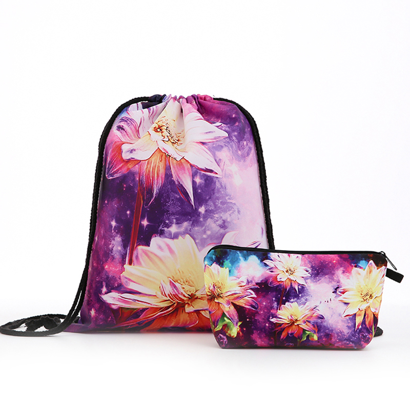 Backpack Drawstring Christmas Cosmetic Suit Drawstring Fashion Printing Travel Softback Men Bags Women's Shoulder Oil Painting