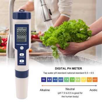 5 in 1 ph temperature tds ec salinity meter waterproof with automatic calibration function water quality ph tester backlight 5 In 1 TDS/EC/PH/Salt/Temperature Meter Digital Water Quality Detector Monitor Tester  Pools Drinking Water Aquariums Analyzers