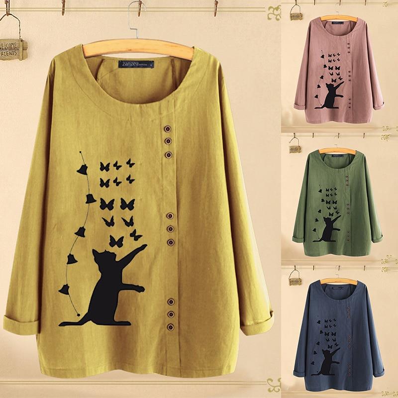 2019 Autumn Women's Printed   Blouse   Fashion Daisy   Blouse   Casual Long Sleeve   Shirts   Female Blusas ZANZEA Oversized Tunic Chemise