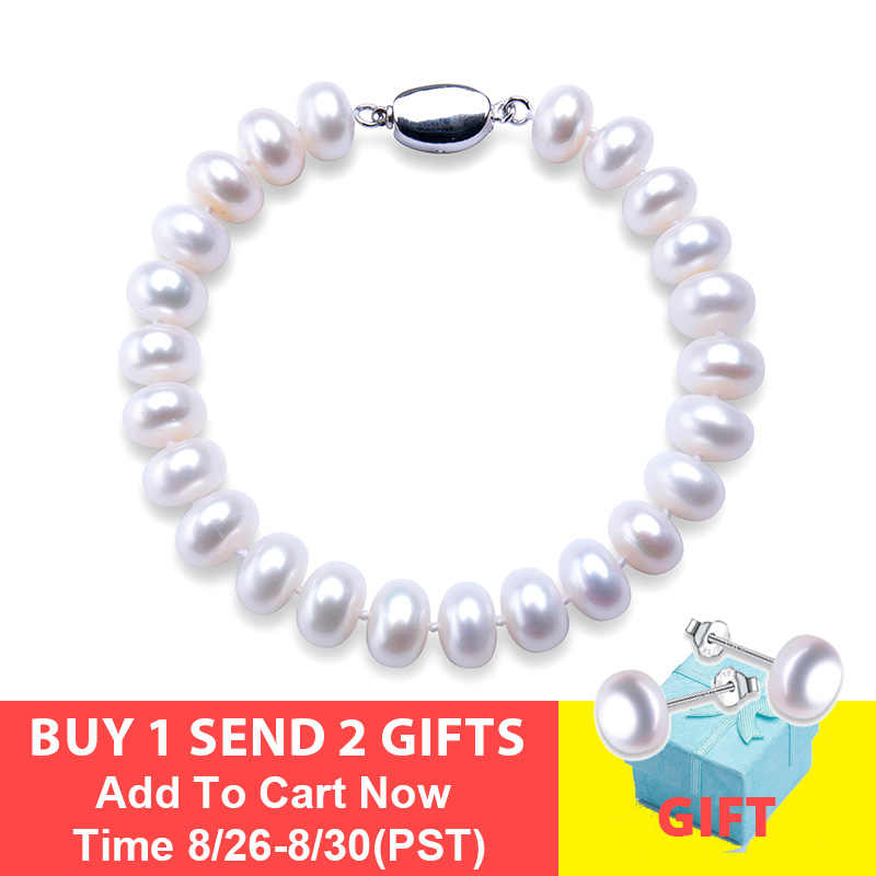 High Quality Natural Freshwater Pearl Bracelets For Women Amazing Price 7-8mm /9-10mm Pearl Jewelry Silver 925 Bracelet 18cm