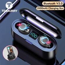 TwsワイヤレスV5.0 bluetoothイヤホンhdステレオヘッドホンスポーツ防水ヘッドセットとデュアルマイクと2000バッテリー充電ビン
