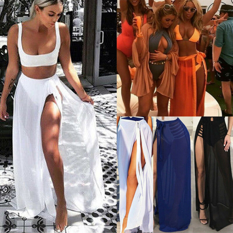 Womens Swim Wear Bikini Cover Up Sheer Beach Mini Wrap Skirt Sarong Pareo Shorts Ladies Summer Chiffon Swimsuit Cover-Ups