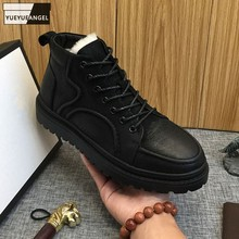 Mens Winter Rubber Anti Slip Snow Boots Genuine Leather High Top Shoes Platform Sneakers Thicken Wool Lining Warm Ankle Boots