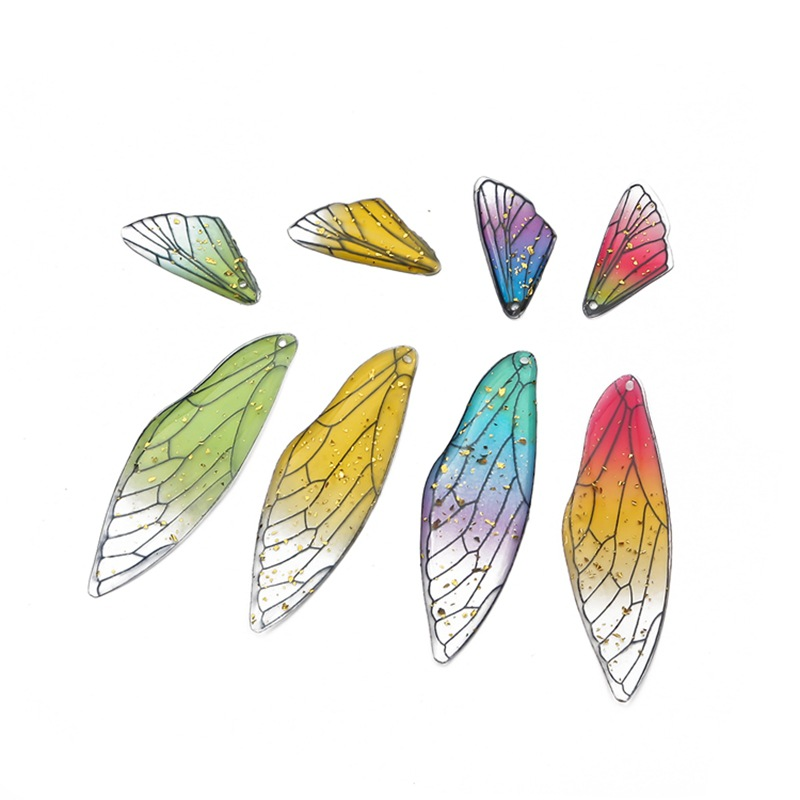 2/10pcs Two Gradient Color Resin Butterfly Wig Small Elves Gold Leaf Sequin Charm Pendant For DIY Earring Jewelry Making