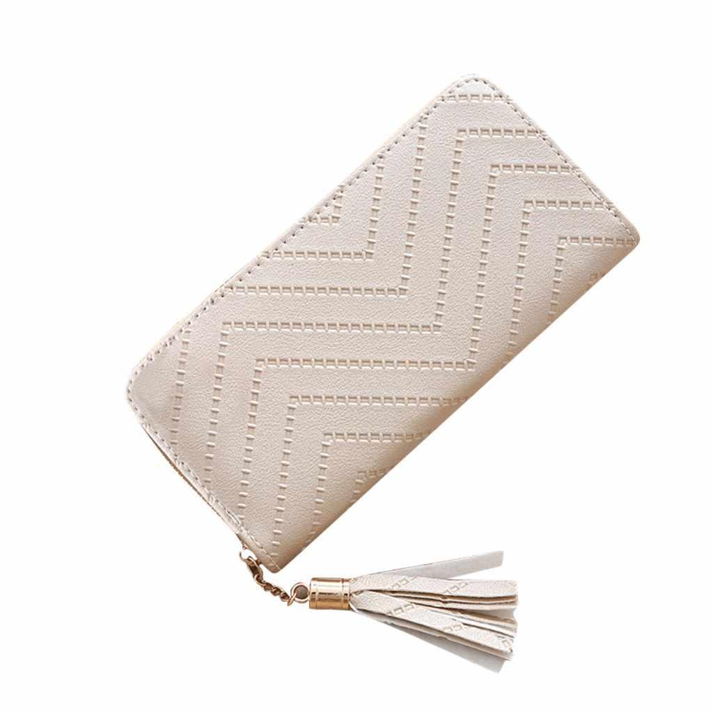 2019 püskül cüzdan kadınlar uzun Retro cüzdan deri püskül kadın cüzdan fermuar Portefeuille kadın çanta debriyaj Cartera Mujer