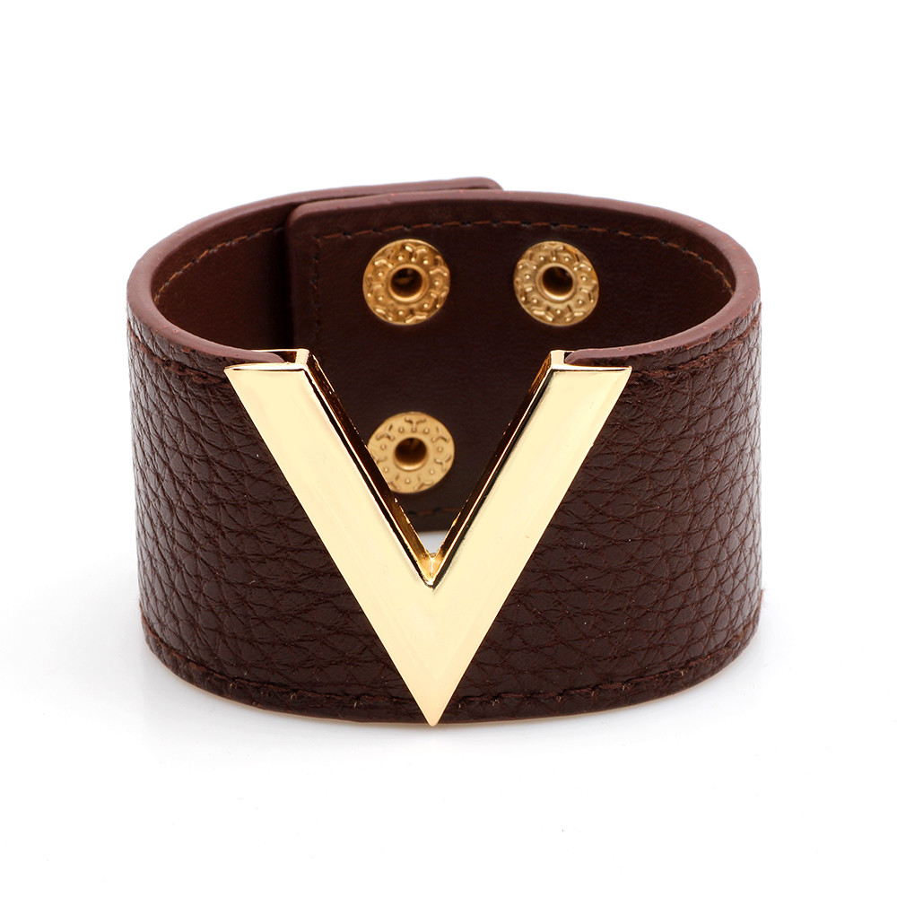 6 Color Fashion Metal V Wide Women Leather Trendy High Quality Bracelets Bangles Adjustable Wrap Charm Bracelet Female Jewelry in Charm Bracelets from Jewelry Accessories