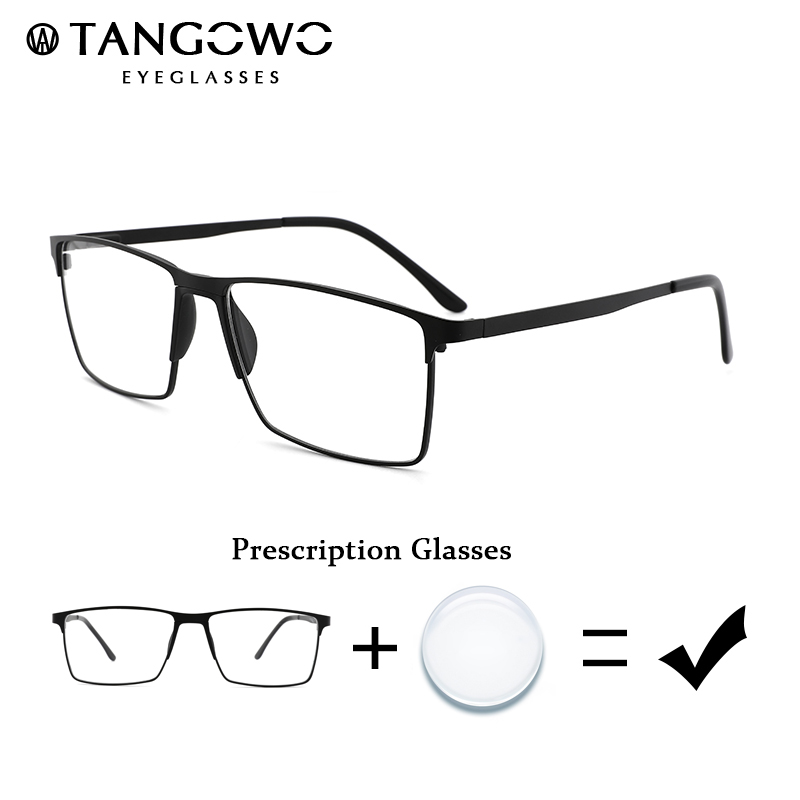 TANGOWO Male Prescription Eyeglasses Degree Eyewear Mens Myopia Glasses Metal Glasses Frame Grade Glass Optical Eyeglasses