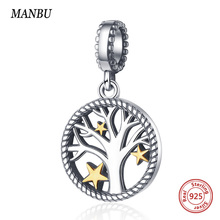MANBU charms 925 sterling silver tree of life beads for jewelry making bangle pendant women gifts