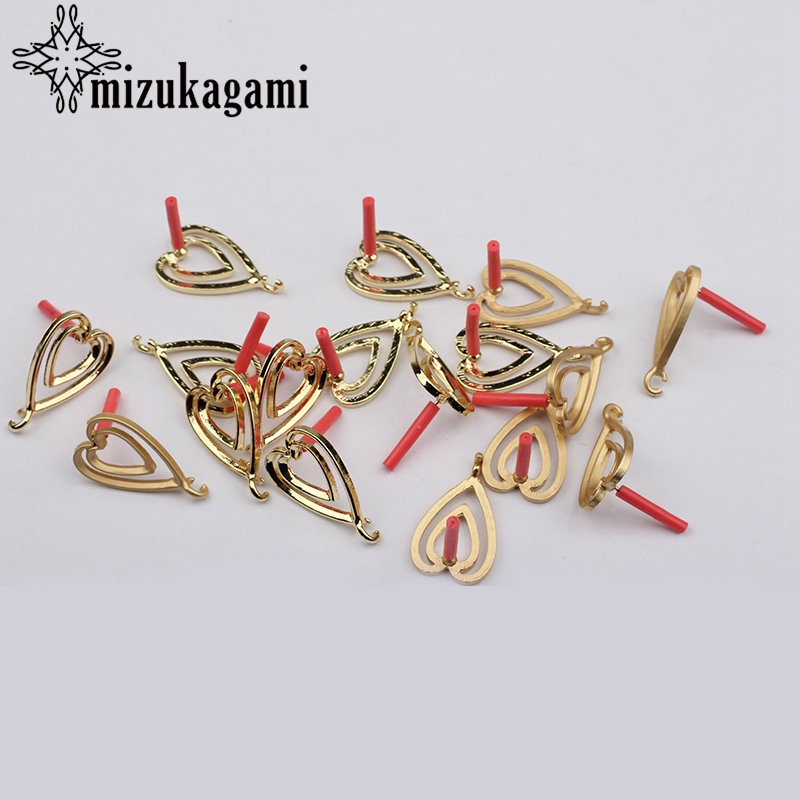 Earrings Making Accessories Golden Heart Shape Earrings Base Connectors Linker 6pcs/lot 24*14mm For DIY Fashion Earring
