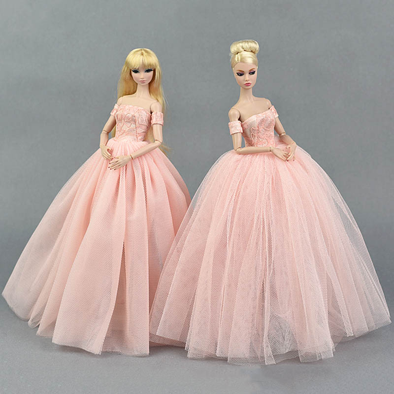Pink Wedding Dress For Barbie Dolls Princess Evening Party Clothes Wears Long Dresses Doll Clothes For Barbie Dollhouse