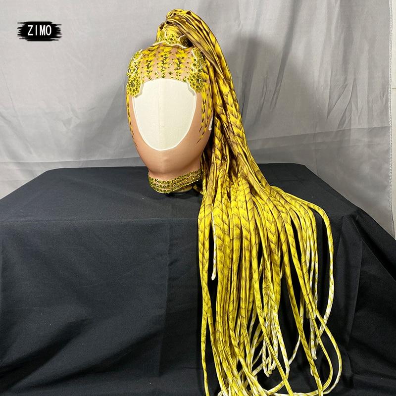 Designer yellow Rhinestone Wigs Women Crystal drag queen Long Hair Headwear Nightclub Party Headdress Singer Stage Accessories