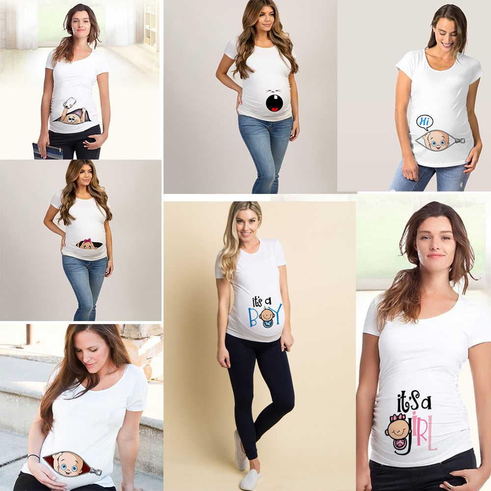 Moda verão mulher grávida roupas de maternidade bebê peeking moletom engraçado zip imprimir o pescoço venda quente gravidez tops roupas