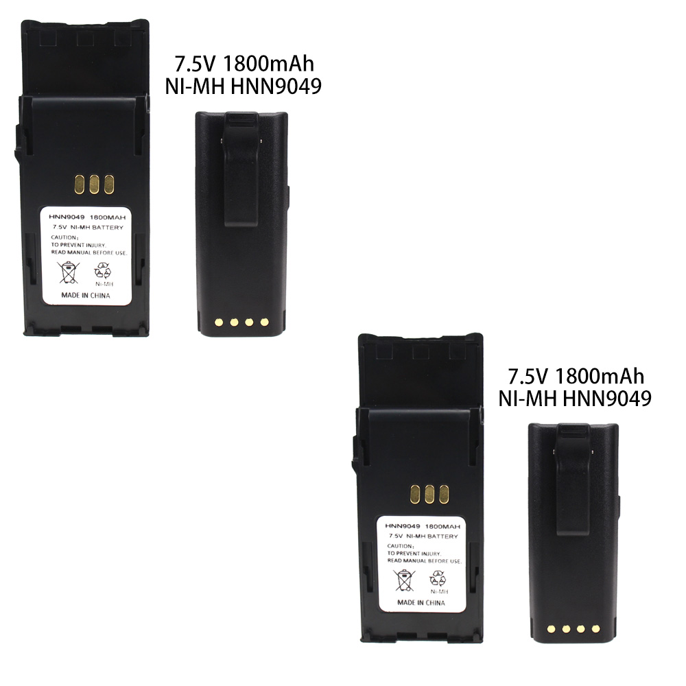 2X HNN9049 Battery For Motorola P1225 P1325 MTP700 MTP750 SP1225 HNN9050 With Belt Clip 1800mAh NI-MH