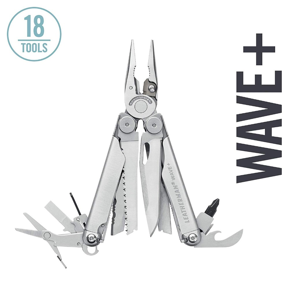 LEATHERMAN - Wave Plus Multitool With Premium Replaceable Wire Cutters And Spring-Action Scissors, Stainless Steel