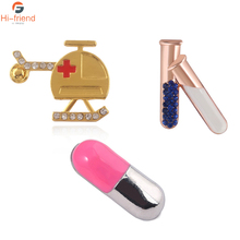 Creative Brooches Test Tube Medical Helicopter Pills Enamel Pins set Badge Doctor Nurse Gift Jewelry