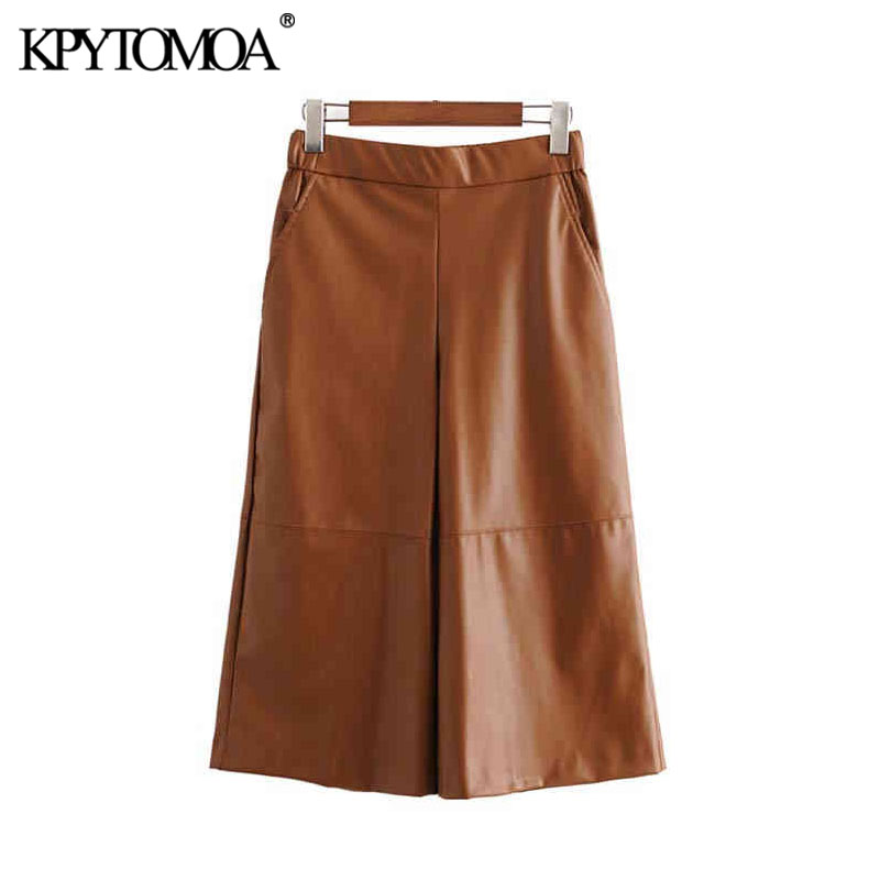 Vintage Chic PU Faux Leather Calf Length Wide Leg Pants Women 2020 Fashion High Elastic Waist Pockets Female Trousers Pantalones